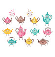 teapots funny characters vector image vector image