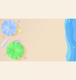 top view of summer beach in style of cut out paper vector image vector image