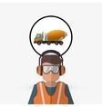 Under construction design truck concept repair vector image