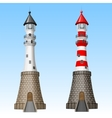 white and red lighthouses vector image vector image