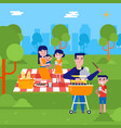 young caucasian family having a picnic in the park vector image vector image