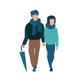 young couple walking with vector image vector image
