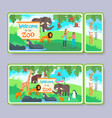 zoo admission ticket template set vector image vector image