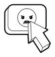 arrow cursor with emoticon angry button icon vector image
