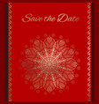 postcard save the date in red and gold vector image