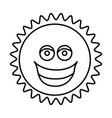 figure sticker happy sun icon vector image