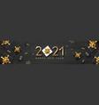 2021 happy new year black gift box golden ribbon vector image vector image