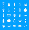 aloe vera plant logo icons set simple style vector image
