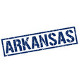 arkansas blue square stamp vector image vector image
