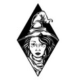 beautiful witch out black frame for vector image vector image