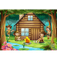 boys and girls camping out in woods vector image vector image