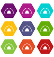 camping dome tent icon set color hexahedron vector image vector image