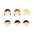children heads set vector image