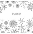 christmas banner with hand drawn snowflakes vector image vector image