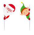 elf and santa claus holding a sign vector image