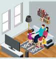 family home isometric composition vector image vector image