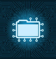 file folder icon over blue circuit motherboard vector image