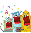 fun cats and mouse karaoke singing song vector image