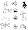 Halloween set pumpkins monster witch in doodle vector image