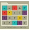 Industrial icon set Multicolored square flat vector image