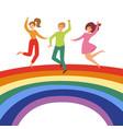 joyful people jumping on rainbow colorful vector image vector image