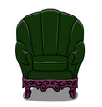 large armchair with dark green upholstery and vector image vector image