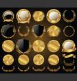 medieval golden shields laurel wreaths and badges vector image vector image