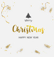 merry christmas hand drawn gold text font type vector image