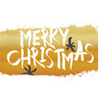 merry christmas lettering with gold texture vector image vector image
