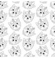 pattern with head of dog vector image vector image