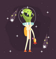 pensive alien posing with weapon in his hand vector image