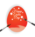 Red egg and brush for Easter day greeting card vector image vector image