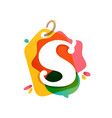 s letter logo with sale tag icon watercolor vector image vector image