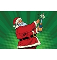 Santa Claus opens a bottle of champagne vector image vector image