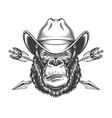 serious gorilla head in cowboy hat vector image vector image
