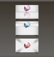 set of three templates for business cards vector image
