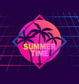 summer time 80s retro sci-fi palm trees on a vector image vector image