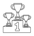 trophy cups on podium black and white vector image