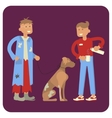 volunteer is Feeding homeless man and dog vector image vector image