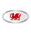 welsh dragon oval button vector image vector image