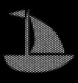 white pixelated yacht icon vector image