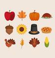 set of thanksgiving holiday season vector image