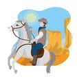 cowboy on horse in desert vector image