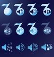 set blue notes speakers dark background vector image