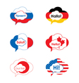 A set of comic bubbles and elements in flag of vector image