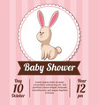 baby shower card invitation save date - rabbit vector image vector image