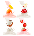 Banners with delicious fruit landing in a milk vector image vector image
