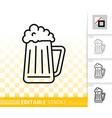 beer mug simple black jug line pub bar icon