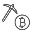 bitcoin mining line icon money and finance vector image vector image