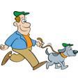 cartoon man walking a dog vector image vector image